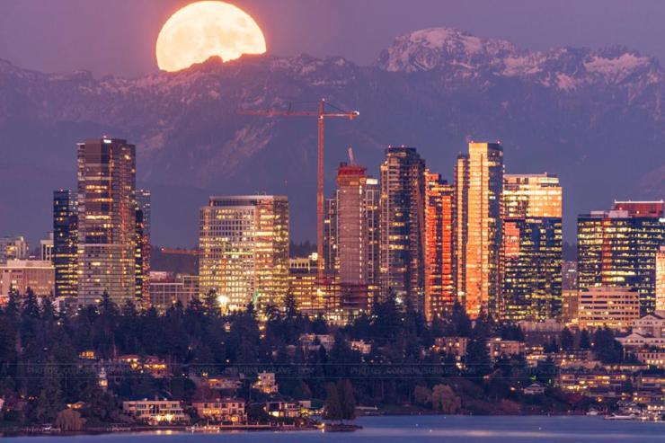 Bellevue at moonrise